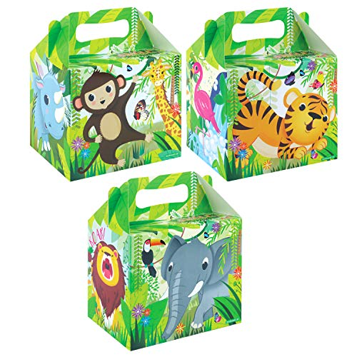 VALUE PACK 12 x Jungle Animal Paper Lunch Box Going Home Present Picnic Boxes by My Planet