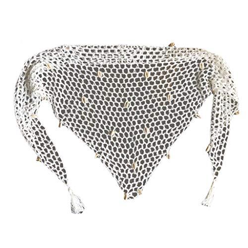 RUZYY - Falda pareo para mujer con borlas, tejido hueco, color blanco