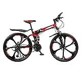 STaemin Vélo Pliant Acier Haute,Vélo Pliant vélo de Montagne Adulte étudiant vélo à Vitesse Variable, vélo Portable vélo Pliable, vélo de Montagne vélo en Plein air-Rouge_24 Pouces