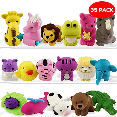 THE TWIDDLERS 35 Mini Animales Gomas De Borrar | Cute Gomas De Borrar Escolar...