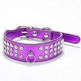 Collar De PU Cara Brillante Anillo De Perro Anillo De Perro De Taladro De Drenaje Tres Suministros para Mascotas Púrpura S 37X2.5 Cm