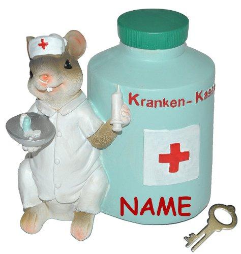 alles-meine.de GmbH Kranken - Kasse  - Spardose Maus - mit Schlüssel + Namen - stabile Sparbüchse aus Kunstharz - Krankenschwester Geld Mäuse Doktor Arzt - Krankenkasse / Kran..