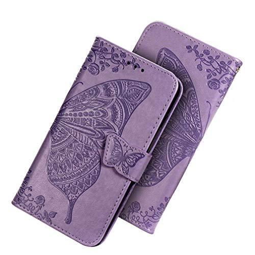 HAOYE Cover per Xiaomi Redmi Note 9 Cover, Custodia Chiusura Magnetica Flip Case Stile, Pelle PU Farfalla Sbalzato con Supporto di Stand/Carte Slot. Viola Chiaro