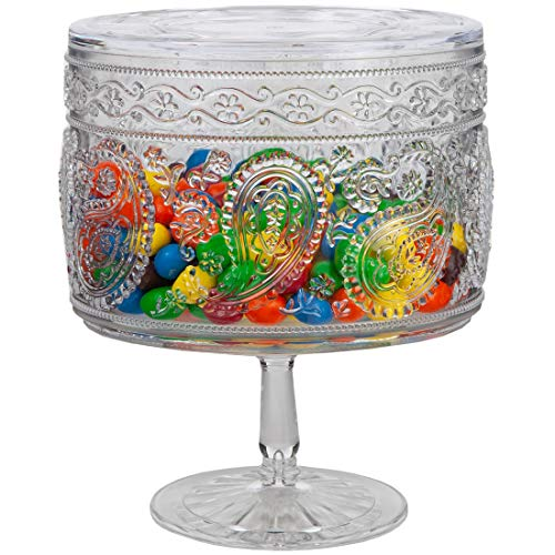 Lily's Home Premium Quality Clear Acrylic Plastic Candy Jar, Standing Cookie Container, Apothecary Canister with Lid. 8