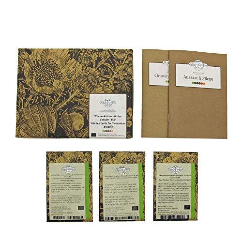 Küchenkräuter für das Fenster (Bio) - Samen-Geschenkset mit den Top 3 der Fensterbank-Kräuter
