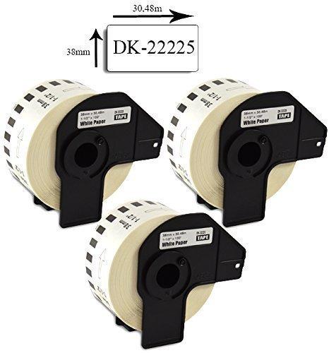 Bubprint 3 Etiketten kompatibel für Brother DK-22225 für P-Touch QL1050 QL1060N QL500BW QL550 QL560 QL570 QL580N QL700 QL710W QL720NW QL800 QL810W