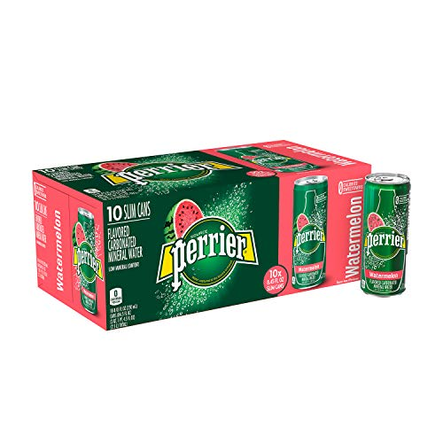 Perrier Watermelon Flavored Carbonated Mineral Water, 8.45 fl oz. Slim Cans (10 Pack)