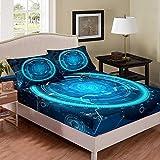 richhome Juego de sábanas científicas de color azul turquesa con instrumentos de detección doble, juego de ropa de cama para niños, ropa de cama, decoración de habitación, 2 piezas