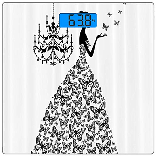 Digitale Präzisionswaage für das Körpergewicht Platz Zubehör-Sammlung Ultra dünne ausgeglichenes Glas-Badezimmerwaage-genaue Gewichts-Maße,Schmetterlinge Kronleuchter Prinzessin Brautkleid,Persönlichk