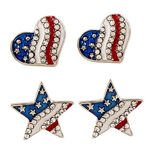ghfashion Pendientes Para Mujer, Diamantes De Imitación, Estrella, Amor, Corazón, Bandera Americana, Pendientes, Pendientes, Joyería, Regalo Corazón de amor azul