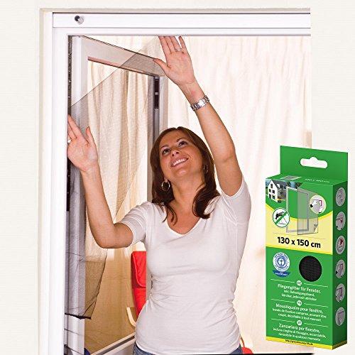Mako, Insektenschutz-Fenstergitter in Schwarz, Polyester, 130 x 150 cm, Fliegengitter für Fenster incl. Klettband