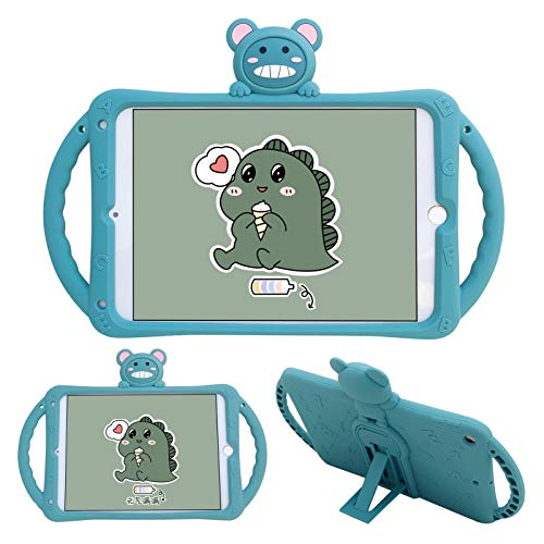 SGVAHY Cute iPad Case Compatible with iPad Air 1/iPad 5 (9.7 inch),Soft Silicone Fun 3D Cartoon Dinosaur Design Handle Built in Kickstand Shockproof Protective Cover Case (Green)