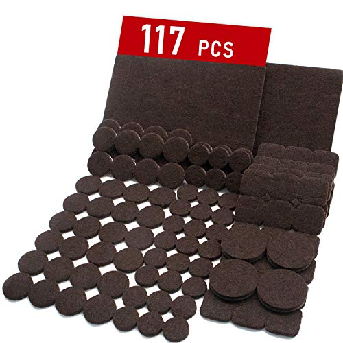 Trenect Furniture Pads 117 Pieces Self Adhesive Assorted Sizes Furniture Felt Pads Noise Reduction Strong Adhesive Thick Furniture Pads for Hardwood Floors