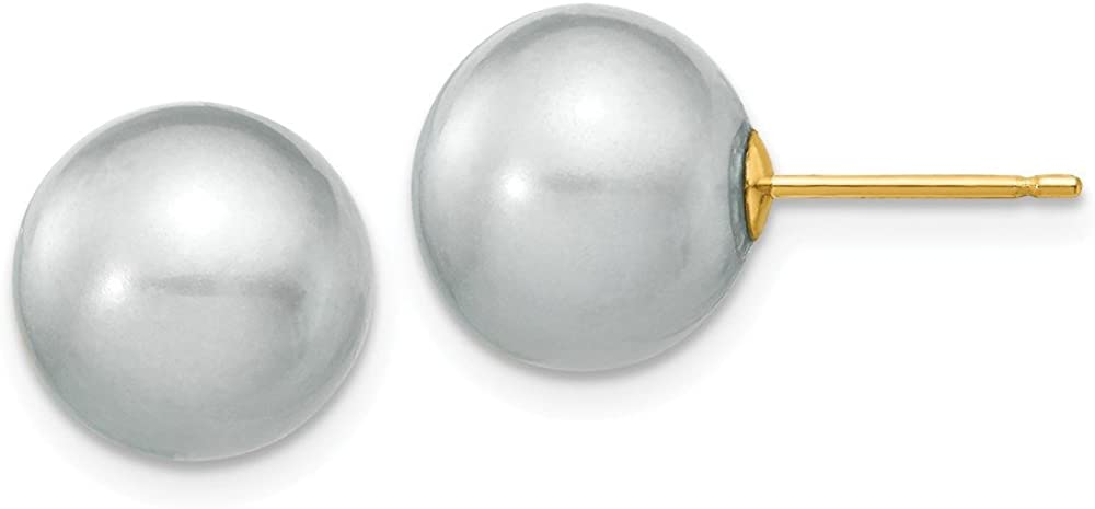 Solid 14k Yellow Gold 10-11mm Grey Round FW Cultured Pearl Stud Earrings