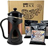 Coffee Gift Set, Best Coffee Gifts for Caffeine Lovers, Coffee Gift Basket Includes KONA French Press with 100% Hawaiian Coffees
