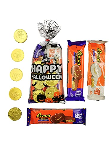 Reeses Halloween Pumpkins – White and Cream Peanut Butter, Milk Chocolate and Peanut Butter, Milk Chocolate and Peanut Butter Stuffed with Candy Pieces and Pirate Gold Coins