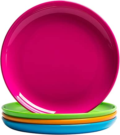 MICHLEY 4-Piece Dinner Plate Set Multicolor,  Dishwasher Safe,  BPA free Tritan Plastic Dessert Plates