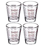 4 Pack Shot Glasses Measuring cup Espresso Shot Glass Liquid Heavy Glass Wine Glass 26-Incremental Measurement 1oz, 6 Tsp, 2 Tbs, 30ml By BCnmviku (4 pack-red)