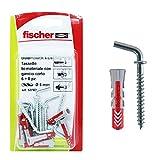 Fischer 537634 Tassello con Gancio Corto Duopower, Grigio/Rosso, 6 x 30 mm, Set di 6 Pezzi
