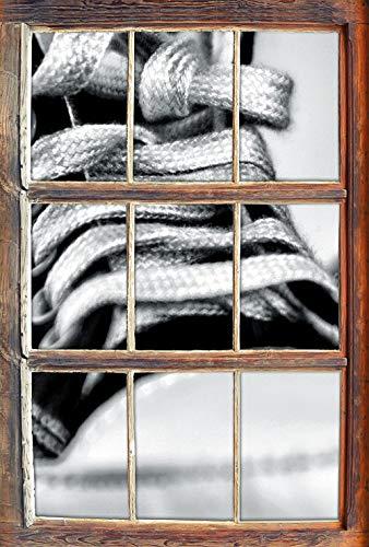 KAIASH 3D Muurstickers Monocrome Converse All Stars schoenen raam in 3D-look muur- of deursticker muursticker muursticker wanddecoratie 92x62cm