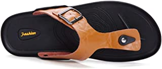 Aomoto Slippers for Men Flip-Flops Casual Slip On Style OX Leather Soft Mook Strap Pure Colors Rivet Reinforcement