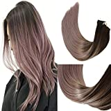 HUAYI Brown To Milky Lavender/Pink Mauve Ombre 50g 22inch 20Pcs Tape In Hair Extensions Human Hair Soft Thick End Tangle Free Durable Silky Straight Balayage Hair Extensions (2TG#22)