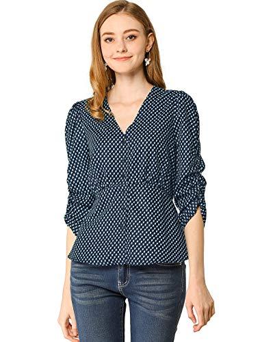 Allegra K Damen Langarm V Neck Button Blumen Peplum Top Bluse Navy Blau S