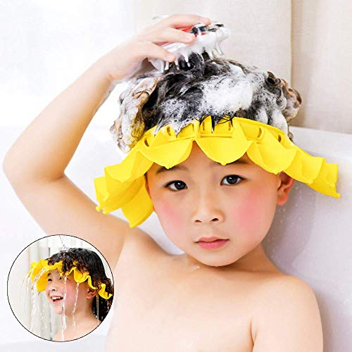 Baby Silicone Shower Cap with Bathing Brush Adjustable Infants Shampoo Caps Hat Safety Bath Visor Cap Soft Stretchy Protect Eyes Ears (Yellow)