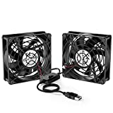 ELUTENG Ventilatore USB 80mm Dual 5V USB Fan Raffreddamento PC Ventole 2700RPM 32CFM Mini Ventilatore con Griglie Metalliche per PS4/TV Box/Router/Xbox/PlayStation