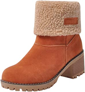 Londony??? Women's Fashion Boots Fold Down Fur Trim Combat Style Bootie 815 Ankle Boots
