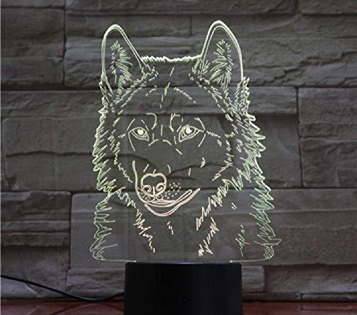Wolf Head 3D dierenmodellering tafellamp led usb baby slaap nachtlampje nachtkastje lamp slaapkamer decoratie kinderen geschenken afstandsbediening bluetooth control kleur