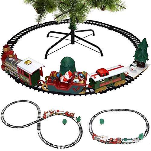 BAKAJI Trenino Natalizio sotto Albero 3in1 Locomotiva Luci Suoni con Vagoni + Slitta Babbo Natale Decorazioni Natalizie 3 Piste Giocattolo Bambini