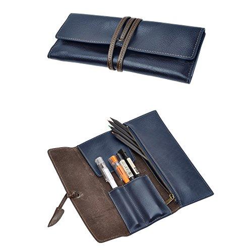 ZLYC - Funda de piel hecha a mano para lápices y bolígrafos, estuche para artículos de...