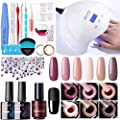 Gellen Gel Nail Polish Kit with UV Light 24W - Ladies Elegance 4 Colors Nail Gel Starter Kit, With Manicure Pedicure Tools DIY Nail Art Decorations Rhinestones Set