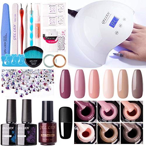 Gellen Gel Nail Polish Kit with UV LED Nail Light - Classic Nudes Winter 6 Colors Nail Gel Starter Kit, Top Base Coat Matte Top Coat Manicure Tools Nail Art Decorations Rhinestones DIY Home Manicure Set