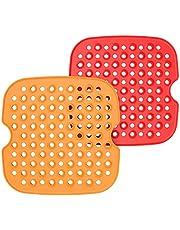 Hangrow 2 st silikongrytunderlägg, 7,5/8,5 cm återanvändbar luftfritös matta, luftfritös perforerad bakplåtspapper, värmebeständig non-stick ångugn silikondyna för de flesta luftfritöser