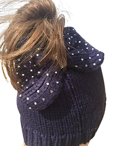 Nickanny's Women's Crochet Messy Bun Beanie Slouchy Style with Hole for Ponytail Hat With Rhinestone Studded Bow For Extra Cute Look (Navy Blue)