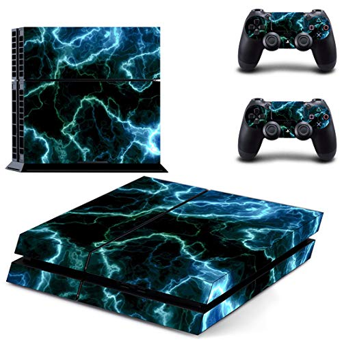 UUShop Vinyl Skin Decal Sticker Cover Set for Sony PS4 Console and 2 Dualshock Controllers Skin Green Lightnings