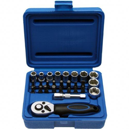 Kleine dopsleutelset MINI dopsleuteldoos moerdoos schroefsleutel bit/bitset 1/4 inch aandrijving - chroom-vanadium-staal - 28-delig