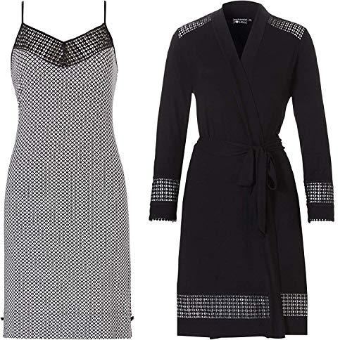 Pastunette dames bamboe zwart & grijs chemicaliën & badjas set
