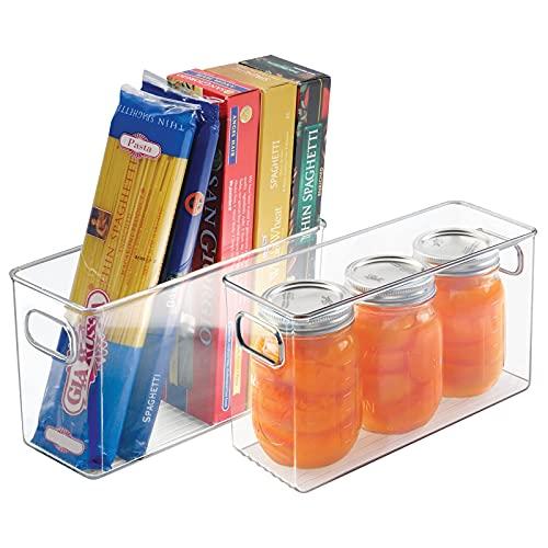 mDesign 2er-Set Aufbewahrungsbox – ideal zur Küchen Ablage, im Küchenschrank oder als Kühlschrankbox – Kunststoffbox mit praktischen Griffen – auch für den Gefrierschrank geeignet – transparent