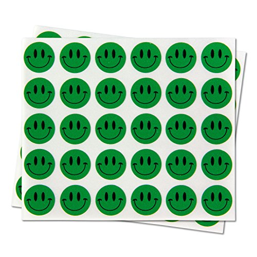 Happy Face Smiley Face Labels Round Self Adhesive Circle Stickers ( Green / 0.5 inch / 300 Labels per Pack )