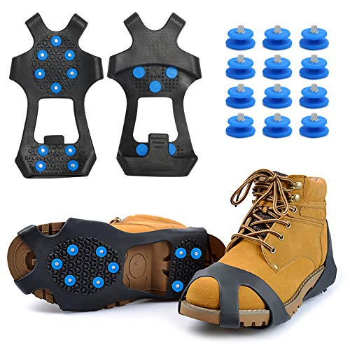 KIPIDA Schuhspikes,Schuhkrallen,Steigeisen,Ice Klampen Anti Rutsch Eiskrallen im Winter mit 10 Spikes für Bodenhaftung auf Schnee und EIS für Bergschuhe Schuhkrallen Eisspikes