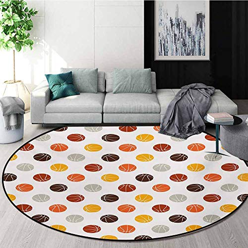Buy Discount RUGSMAT Basketball Art Deco Pattern Non-Slip Round Area Rug,Ball Pattern in Earthen Ton...