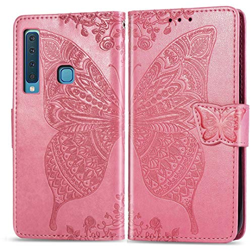 SATURCASE Samsung Galaxy A9 2018 Hülle, Schmetterling Prägung PU Lederhülle Magnetverschluss Brieftasche Standfunktion Handschlaufe Schutzhülle Handy Tasche Hülle für Samsung Galaxy A9 2018 (Rosa)