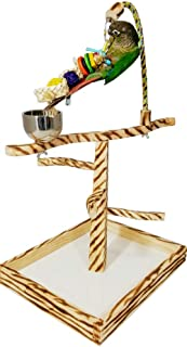 Birds LOVE TigerTail Play Gym Tabletop w Cup, Toy Hanger and Free Parrot Toy Included! - Choose Style and Size