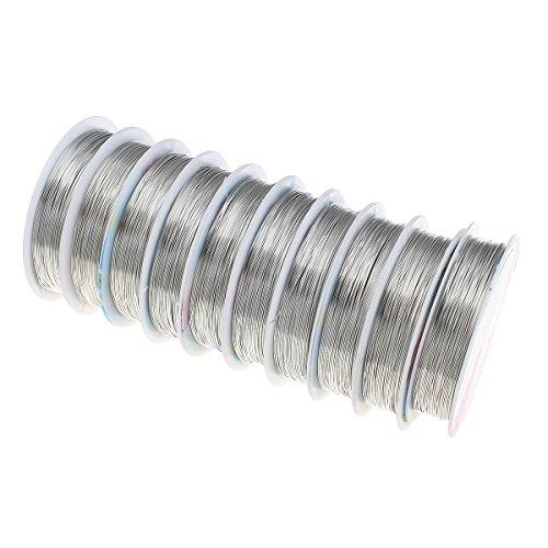 Perlin 40 Meter KUPFERDRAHT 0,2mm Silber Lackdraht Basteldraht SCHMUCKDRAHT Silberdraht Kupfer Draht Bastelschnur Kupferfaden Schmuckband C259