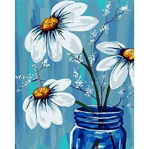 Qwfrmjblf Pintar por Numeros Kit con Pinceles Lienzo y Pinturas Acrilicas Pintura al Óleo DIY para Niños Adultos Principiante Botella Azul Flor Blanca Decoraciones para el Hogar 40X50cm Enmarcado