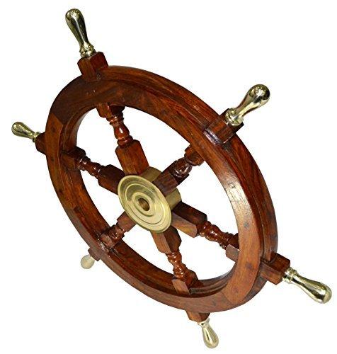 Ship Wheel Ships Steering Wheel Nautical Wheel Wood Wheel Ships Wheel Vintage Nautical Decor Nautical Furniture Nautical Antiques Nautical Art - With Brass Handle (24 Inch) by INI-Replicas