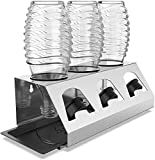 SodaClean® Premium Abtropfhalter aus Edelstahl mit Abtropfwanne - für SodaStream und Emil Flaschen | spülmaschinenfest Abtropfständer Abtropfgestell inkl. Deckelhalterung | Crystal Easy Power (3er)